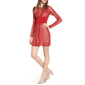 Free People Mixed mesh bodycon lace dress